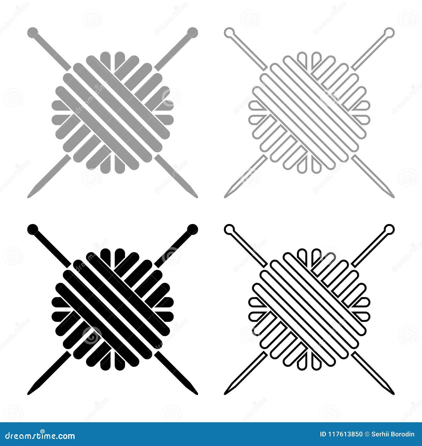 Palla del filato di lana e del colore nero grigio stabilito dell icona dei ferri da maglia