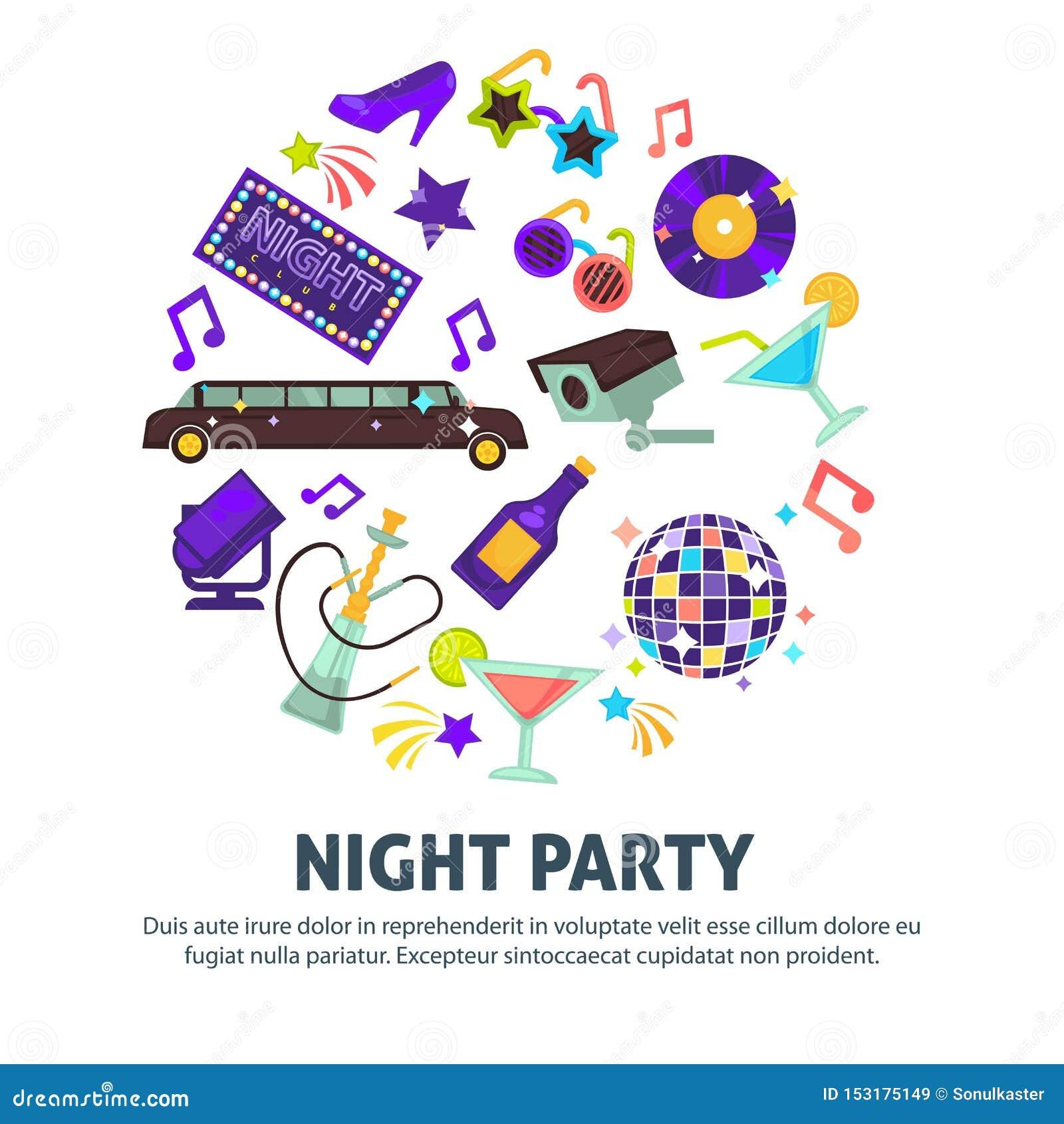 Palla della discoteca del club ballante del partito di notte e narghilé delle limousine