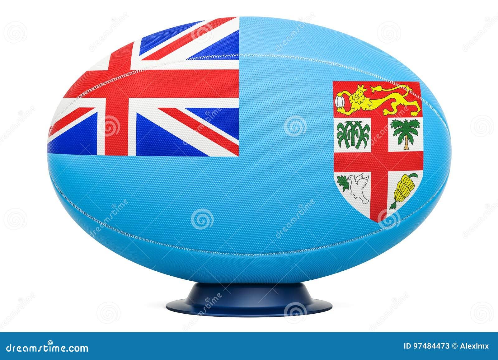 Palla di rugby con la bandiera delle Figi, rappresentazione 3D