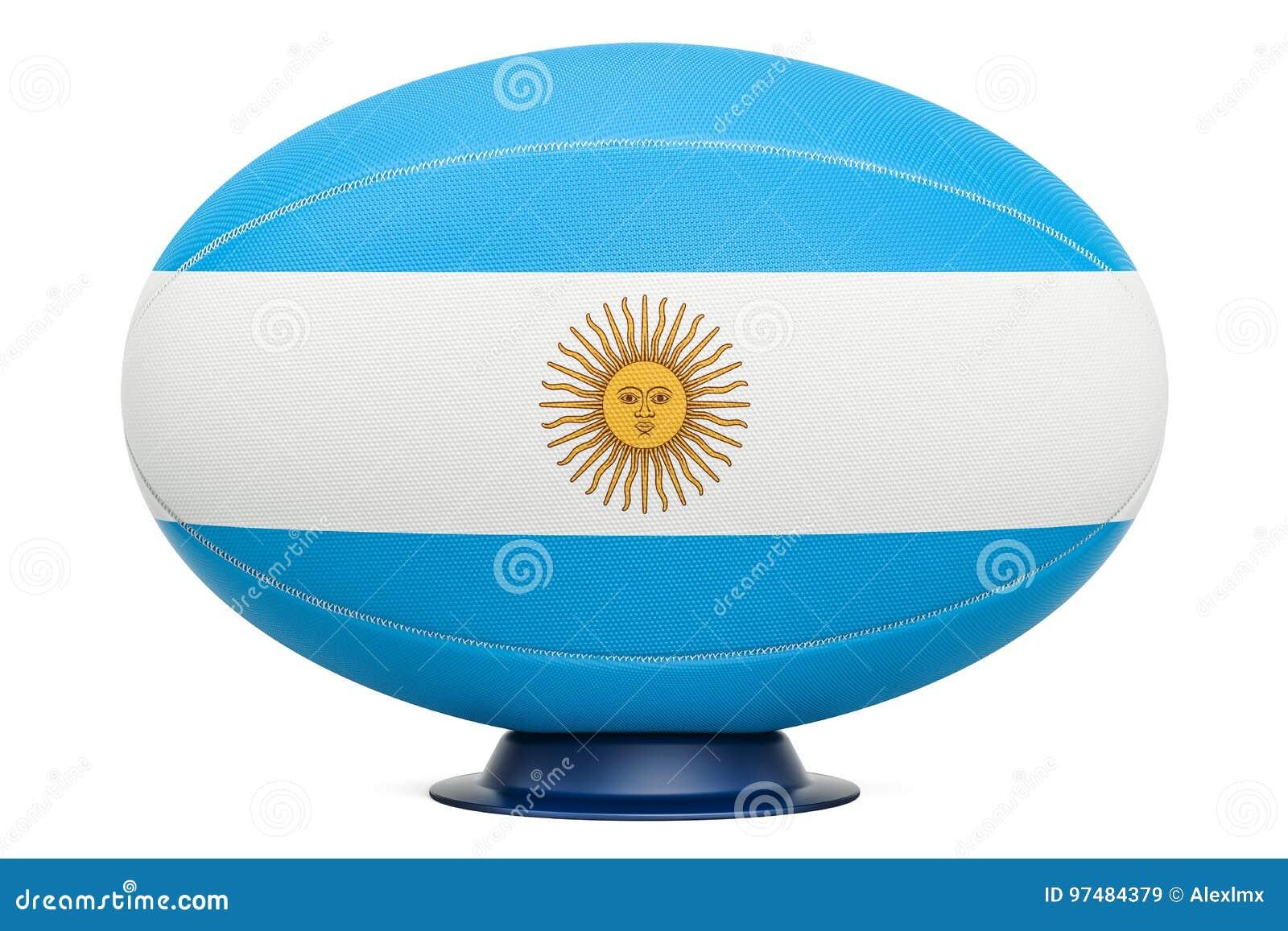 Palla di rugby con la bandiera di Aregnintina, rappresentazione 3D