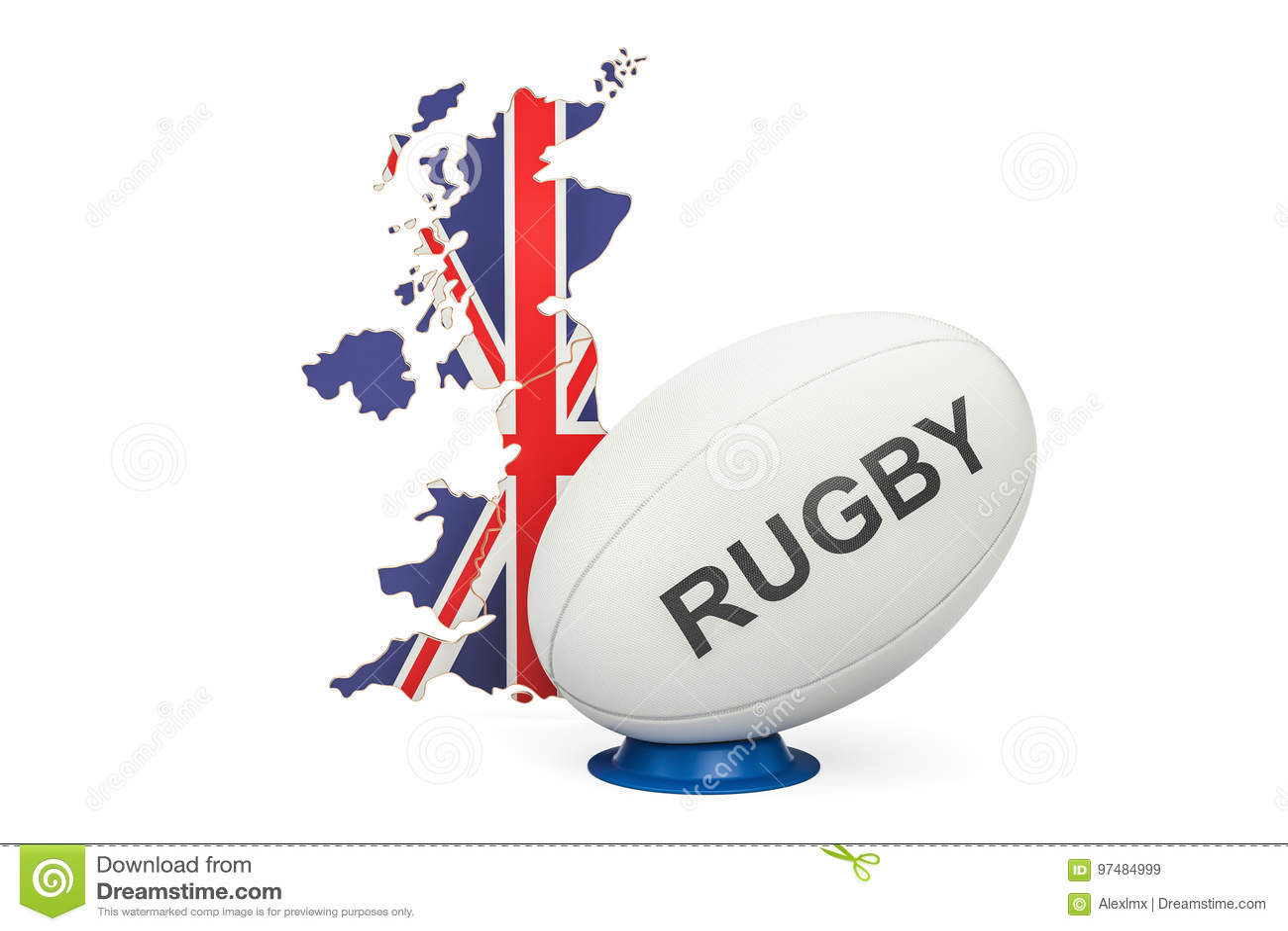 Palla di rugby con la mappa del Regno Unito, rappresentazione 3D