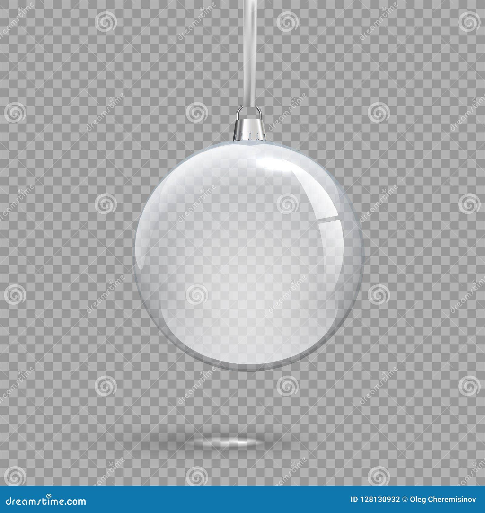 Palla trasparente di Natale isolata su fondo trasparente Elemento di progettazione di festa di vettore