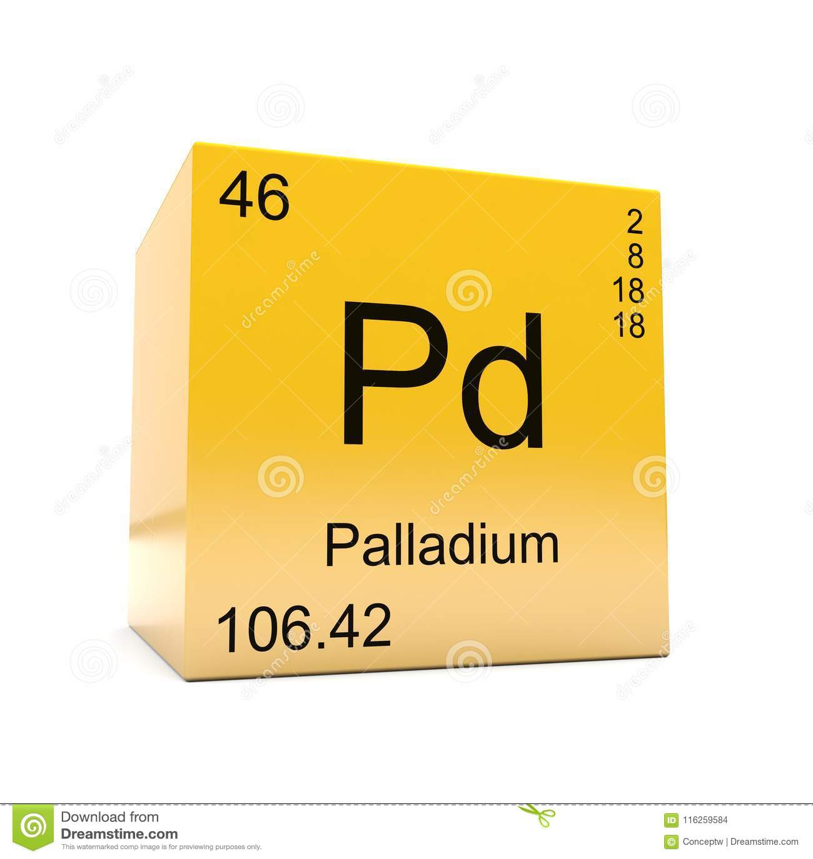 Palladium Chemical Element Symbol From Periodic Table Stock