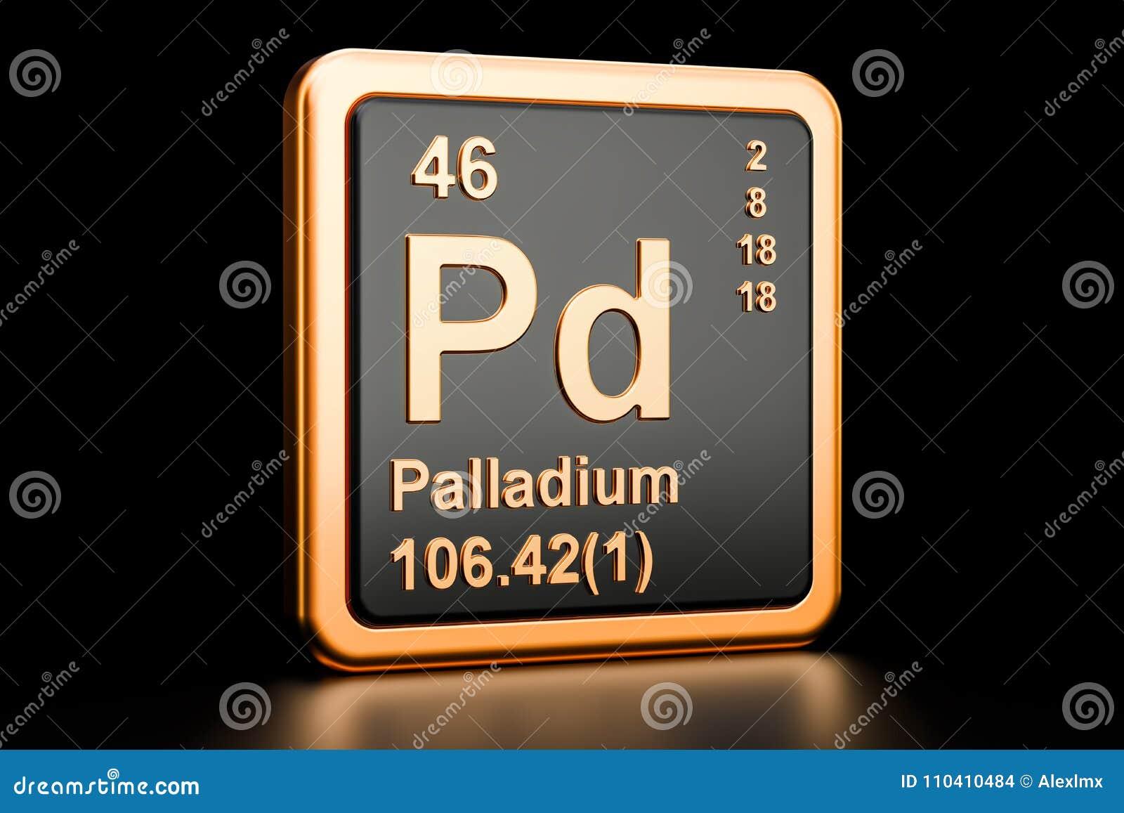 Palladium Pd Chemical Element 3d Rendering Stock Illustration