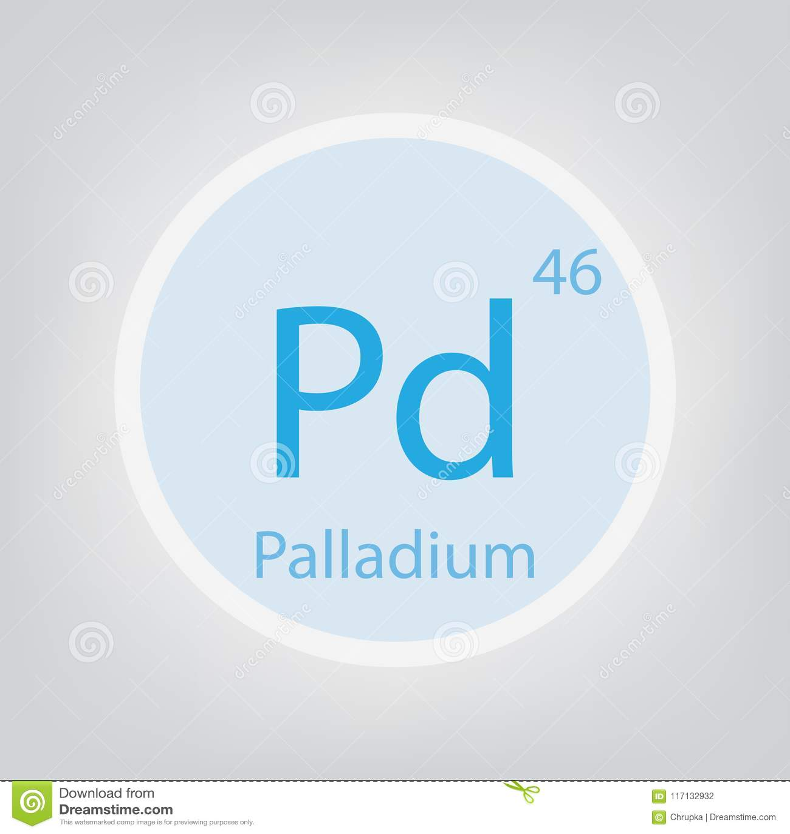Palladium Pd Chemical Element Icon Stock Vector Illustration Of