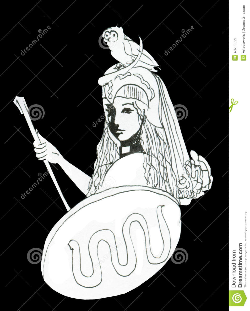 Pallas Athena Ink Drawing With Attributes Stock Illustration