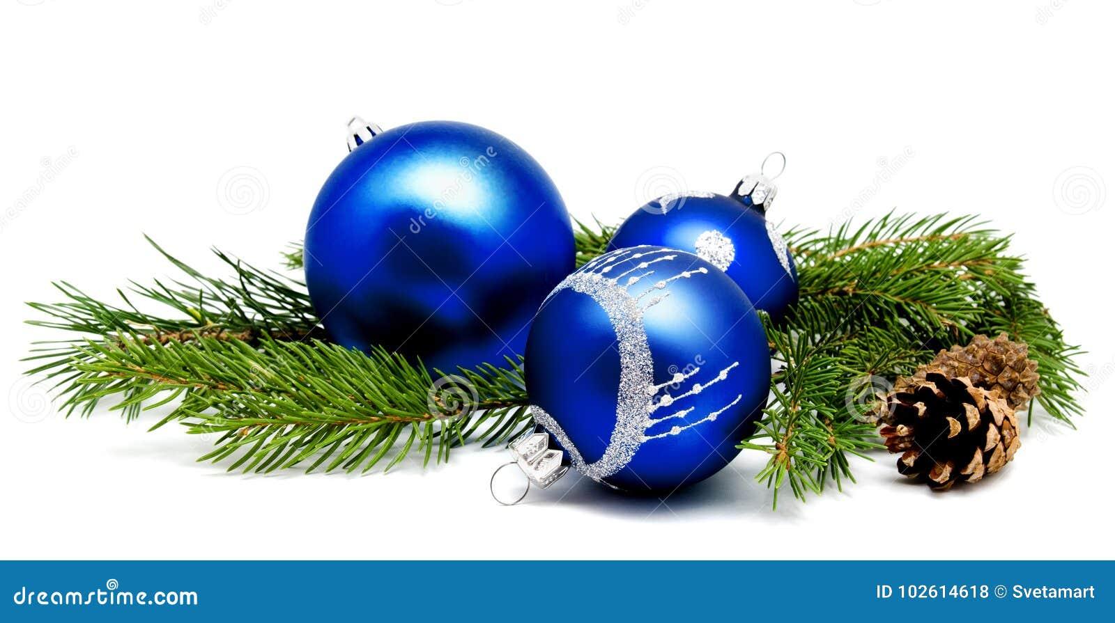Albero Di Natale Con Decorazioni Blu : Palle blu della decorazione di natale con la crusca dei coni di