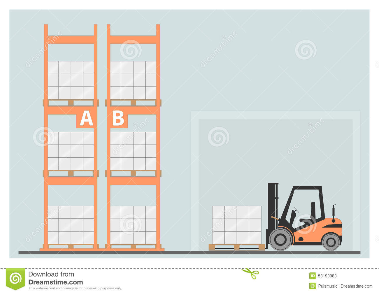 Pallet racking stock vector image 53193983 Warehouse racking layout software free