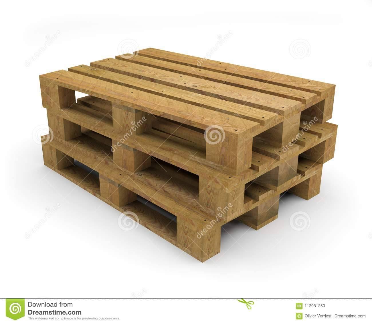Pallet wood transport 3D illustration