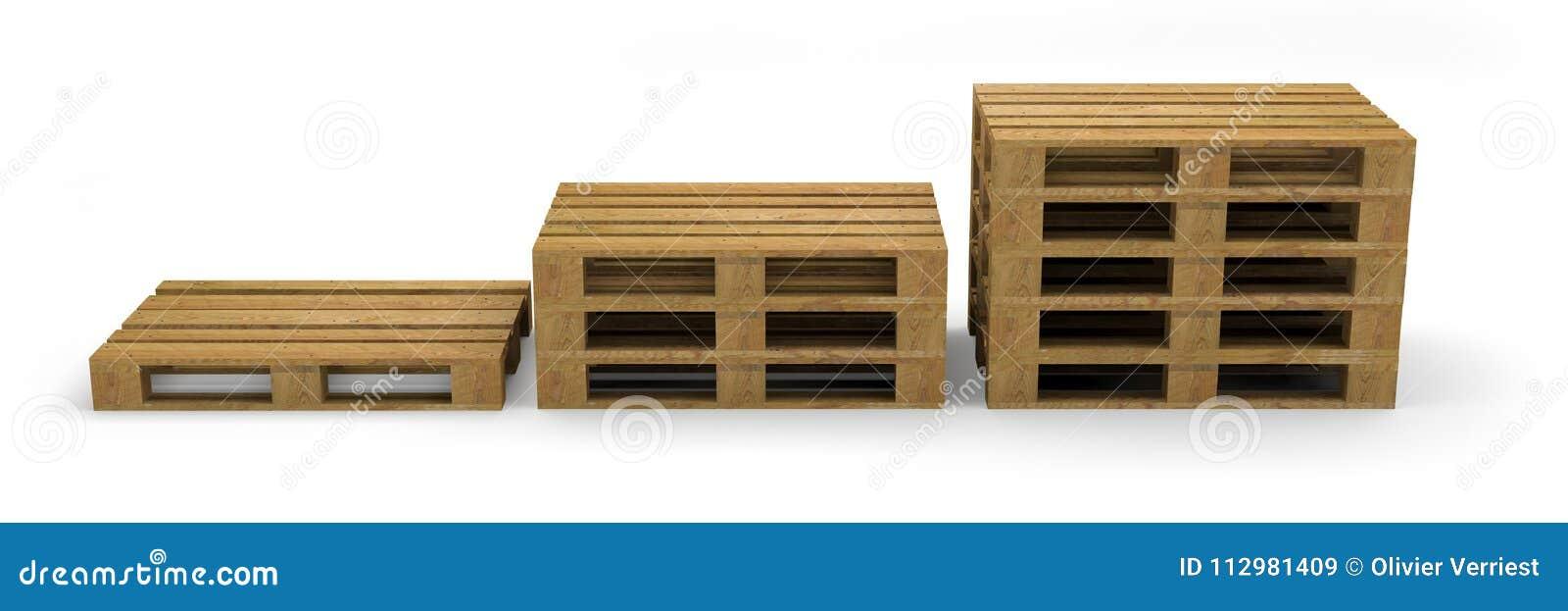 Pallet wood transport 3D illustration