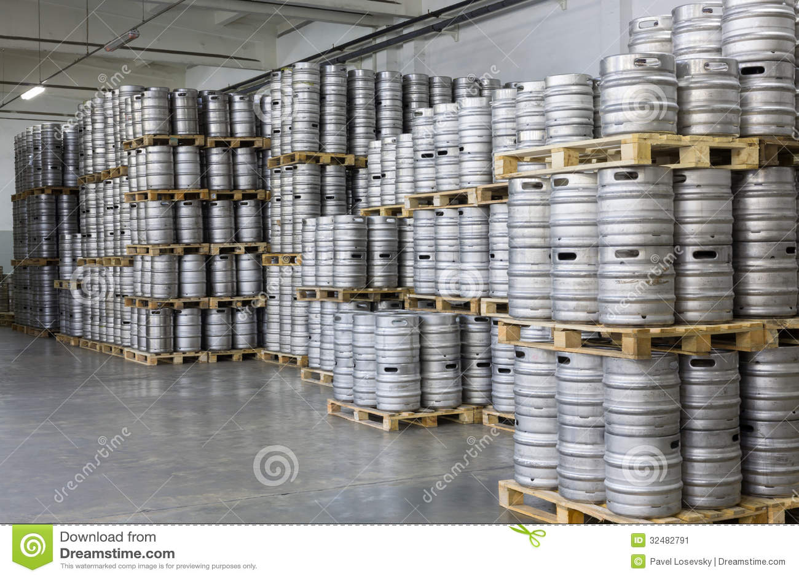 Pallets Of Beer Kegs In Stock Brewery Ochakovo Editorial