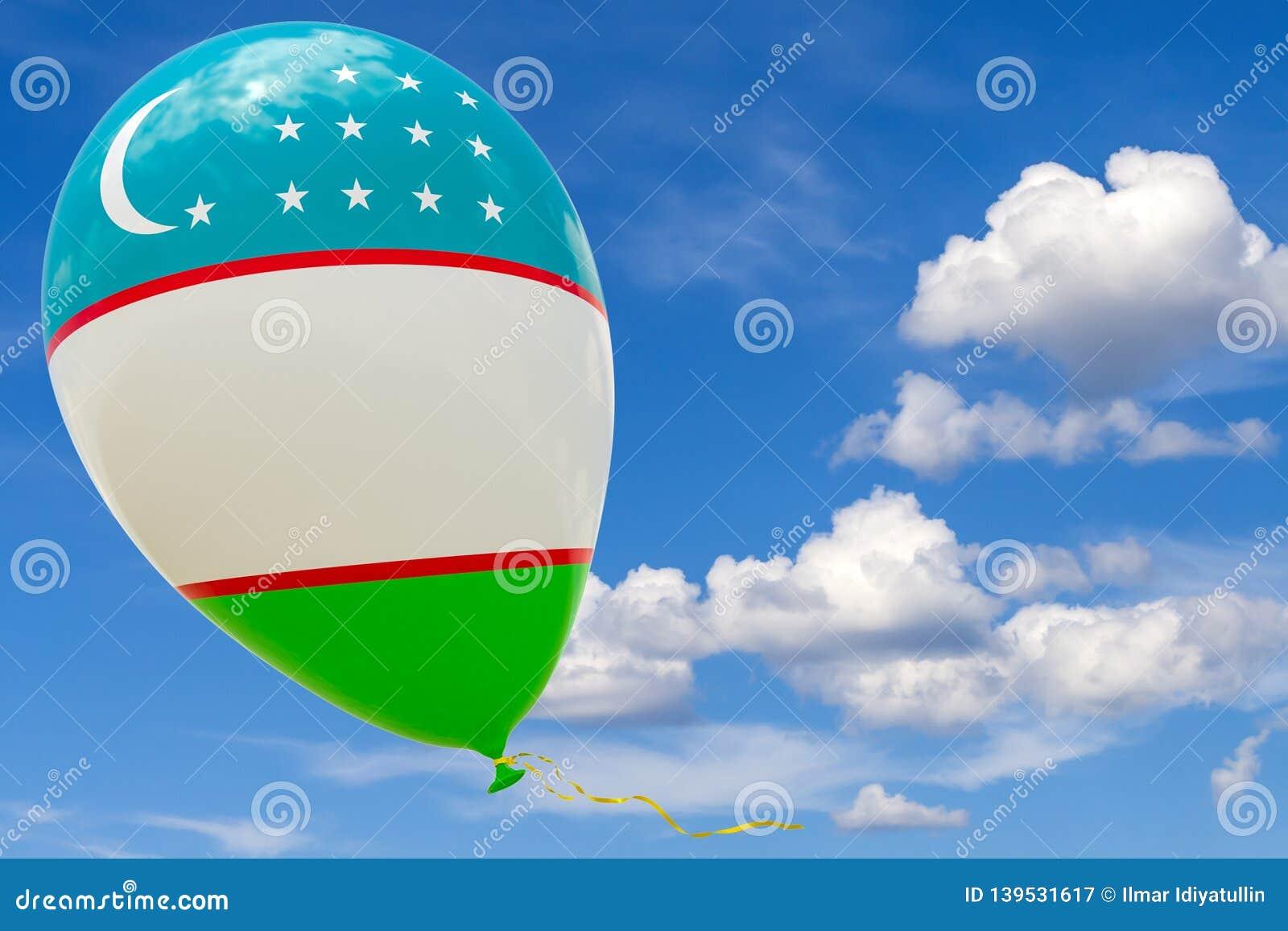 Pallone con l immagine della bandiera nazionale dell Uzbekistan, volante attraverso il cielo blu 3D rappresentazione, illustrazio