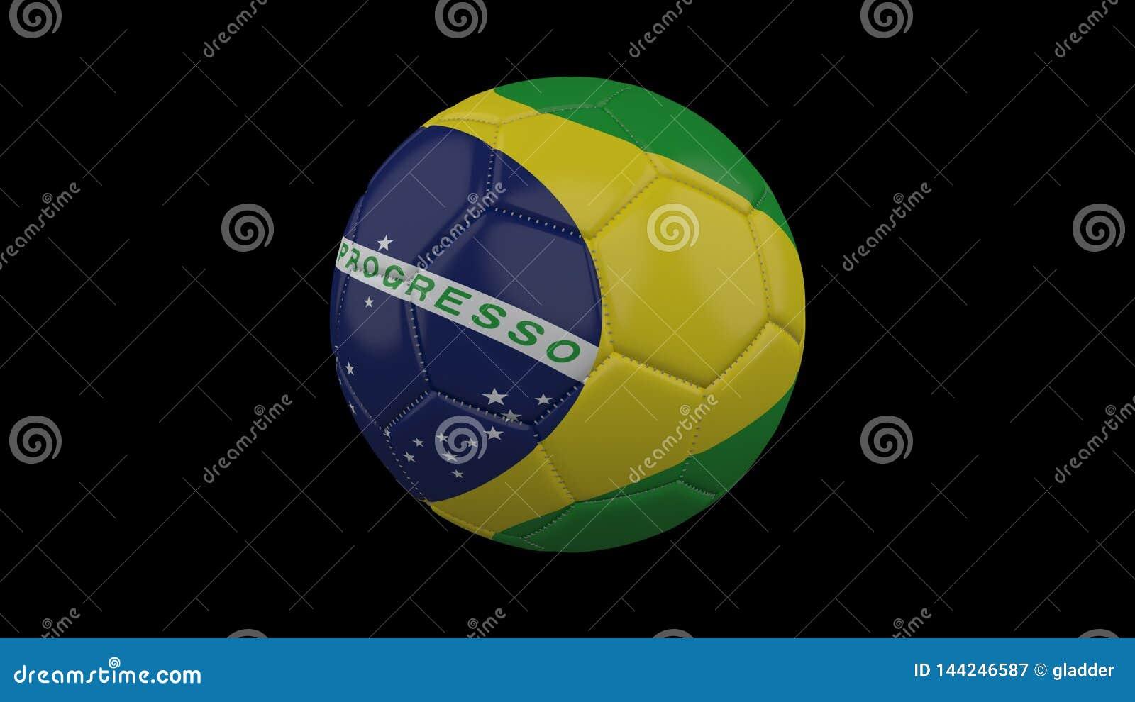 Pallone da calcio con la bandiera Brasile, rappresentazione 3d