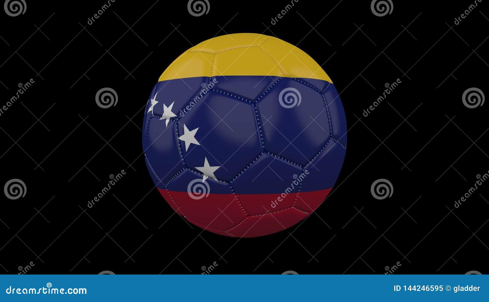 Pallone da calcio con la bandiera Venezuela, rappresentazione 3d
