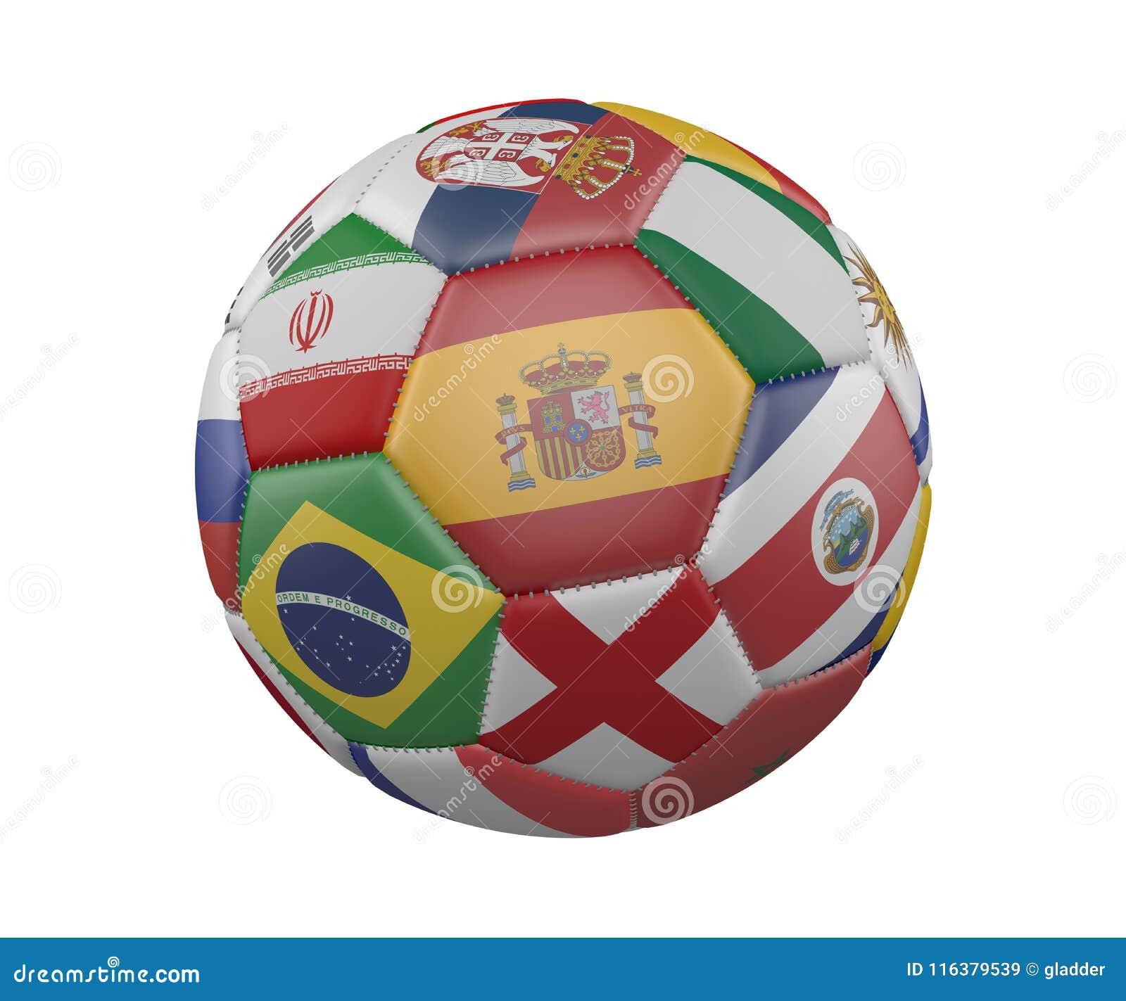 Pallone da calcio con le bandiere isolate su fondo bianco, Spagna nel centro, rappresentazione 3d