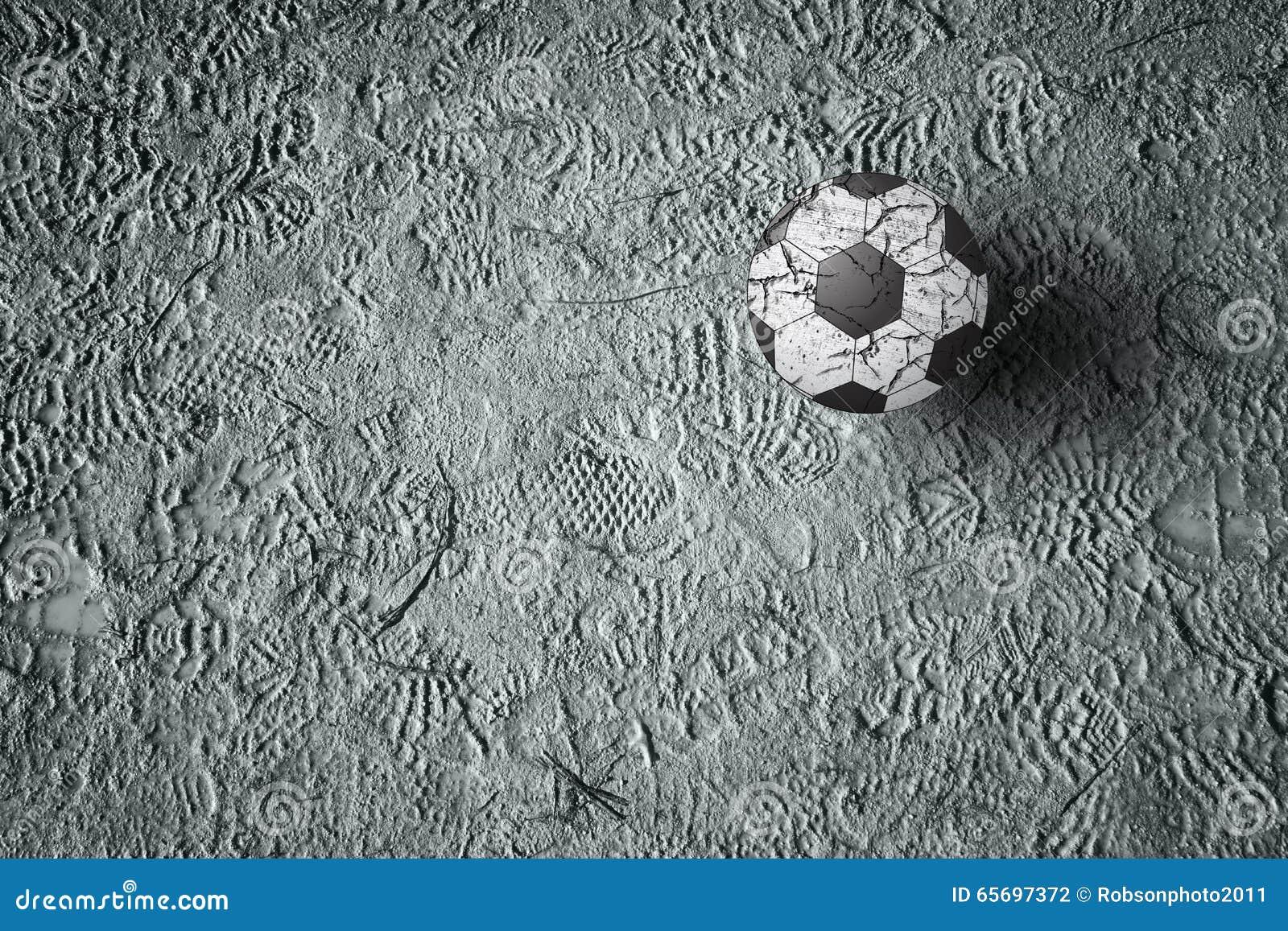 Delle Su Da Calcio L'impronta Terra Pallone Con Scarpe 7bgf6Yyv