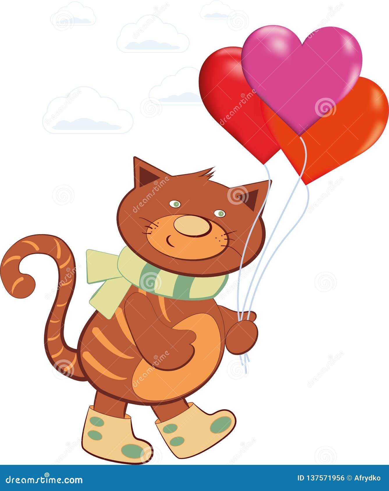 Palloni di trasporto del gatto allegro sotto forma di un cuore
