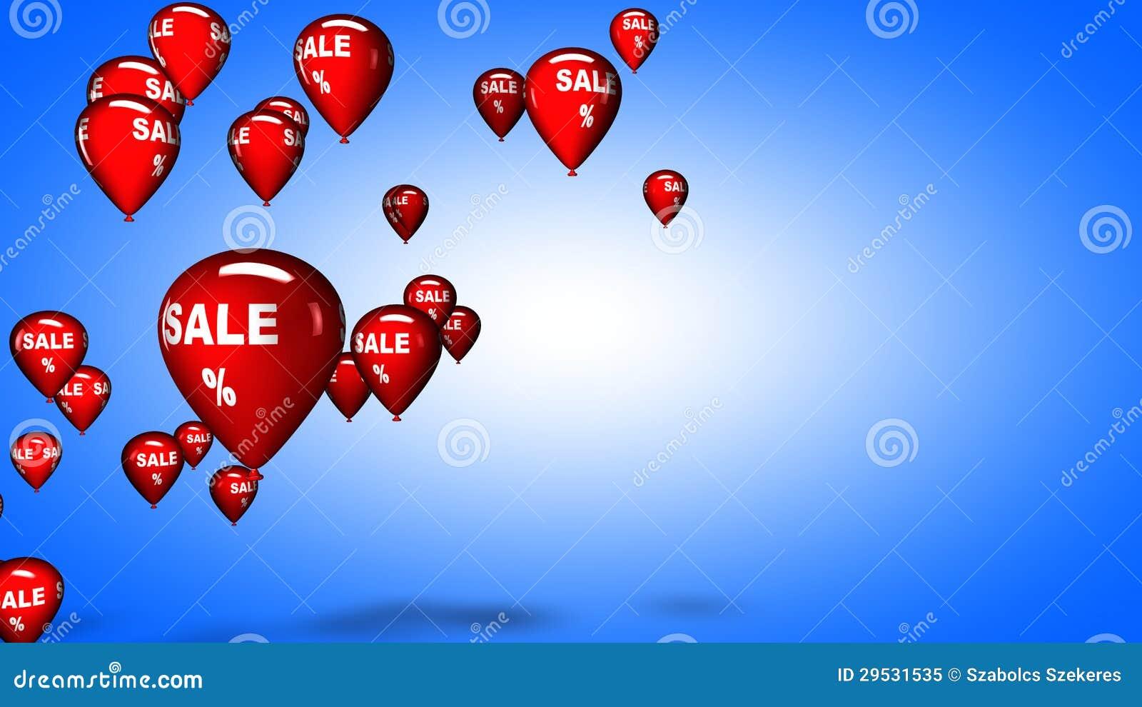 Palloni di vendita, illustrazione 3D