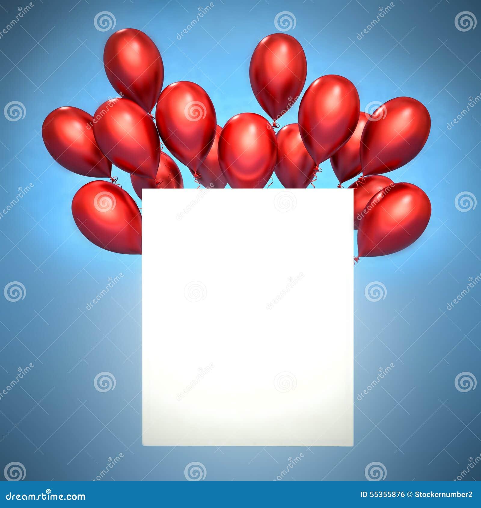 Palloni rossi 3d e spazio in bianco bianco