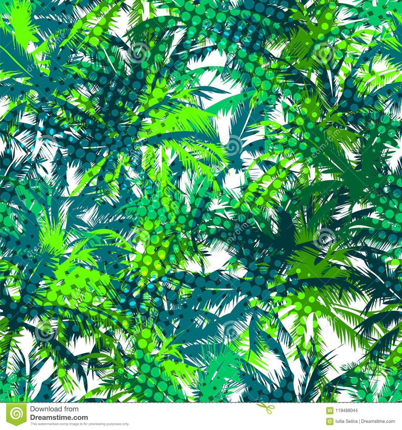Tropical seamless background with coconut palm trees. Jungalow multicolor wallpaper. Hawaiian style