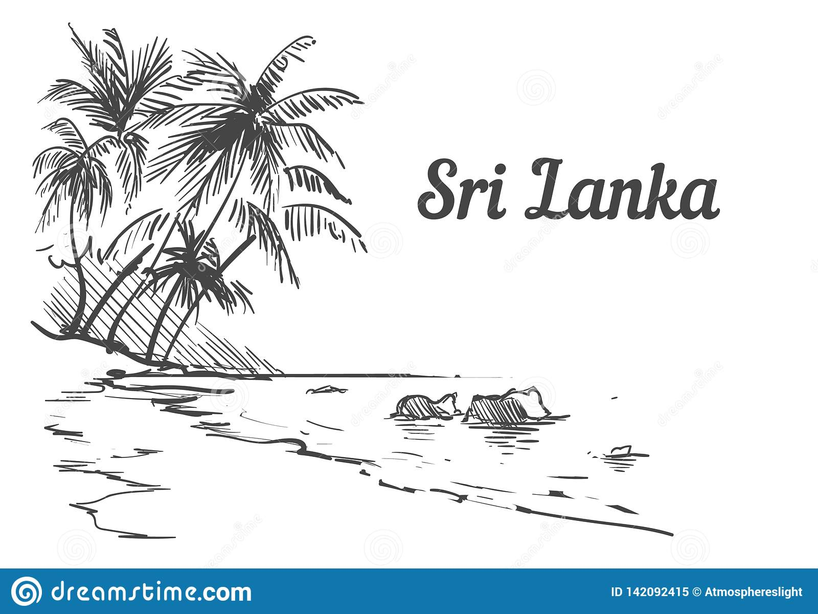Palm Beach-Sri Lanka-Inselhand gezeichnet Sri Lanka-Skizzenvektorillustration