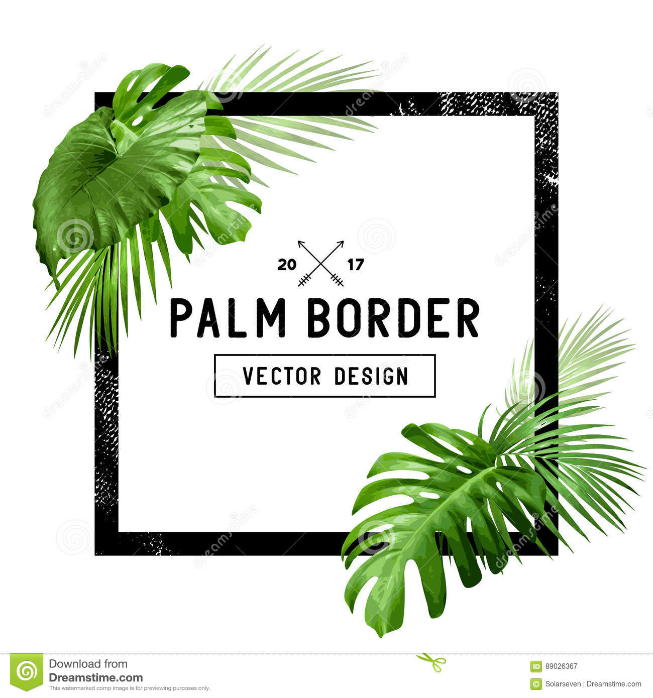 Palm Leaf Frame Stock Vector Illustration Of Leaf Celebration 89026367 You can also feature their leaves as framed wall prints, trendy wallpaper, or as fabric prints like on throw pillows or. dreamstime com
