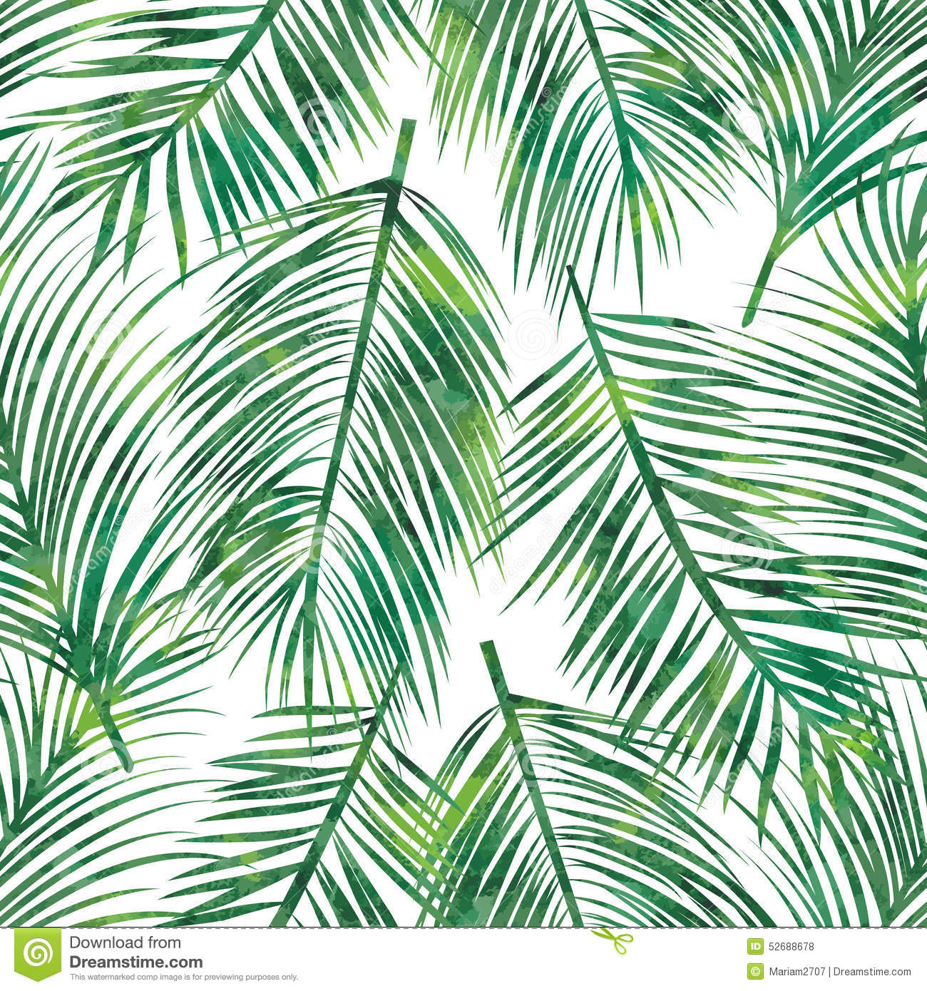 Palm Leaf Seamless Pattern Stock Vector Image 52688678