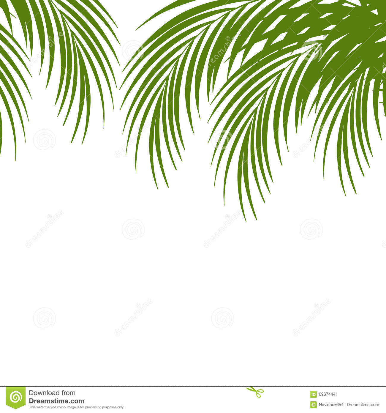 Palm Leaf Silhouettes Background Tropical Leaves Stock