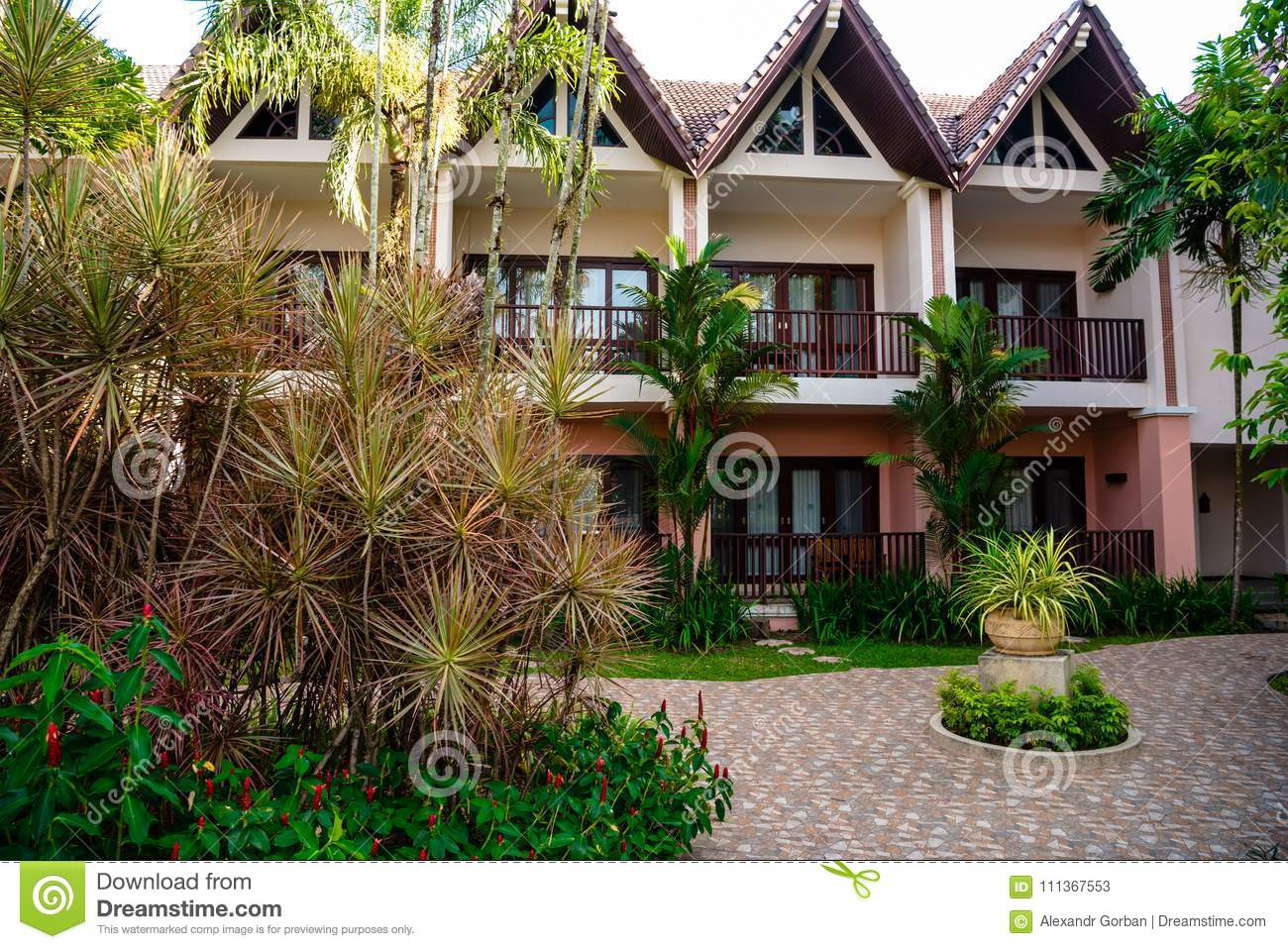 Palm Leaves On The Background Of The Hotel Building Stock Image ...