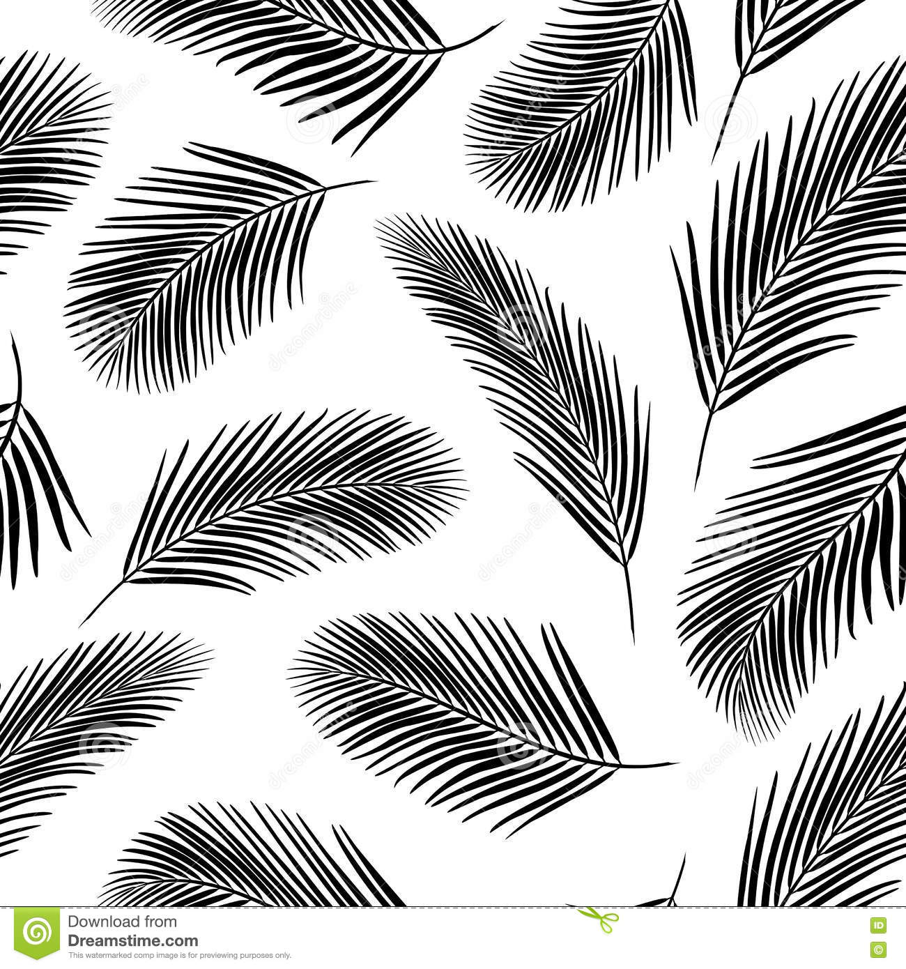 Palm Leaves Pattern 3 Monochrome Background With Seamless For Web
