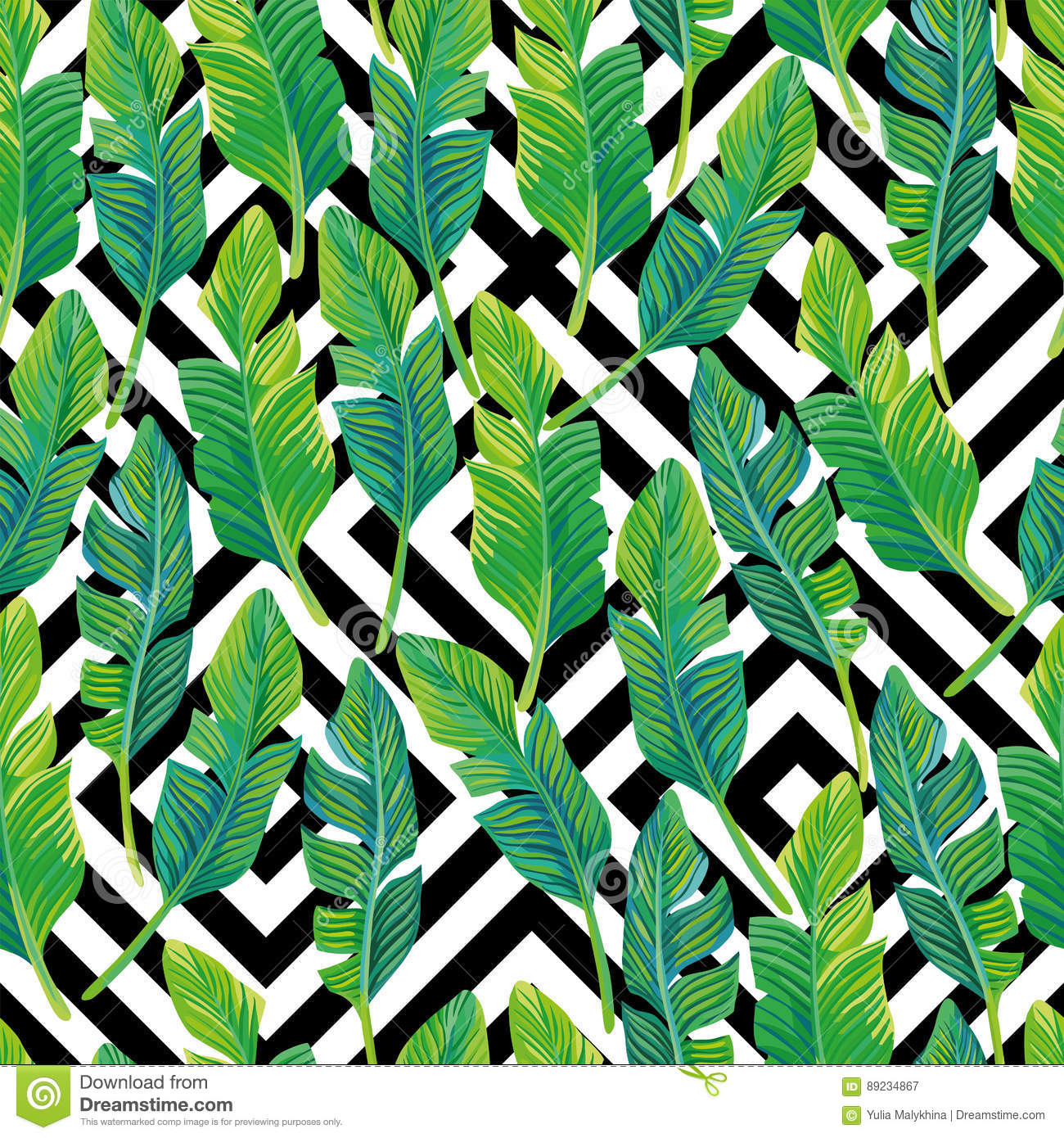 Green Palm Tree Leaves On Black And White Geometric