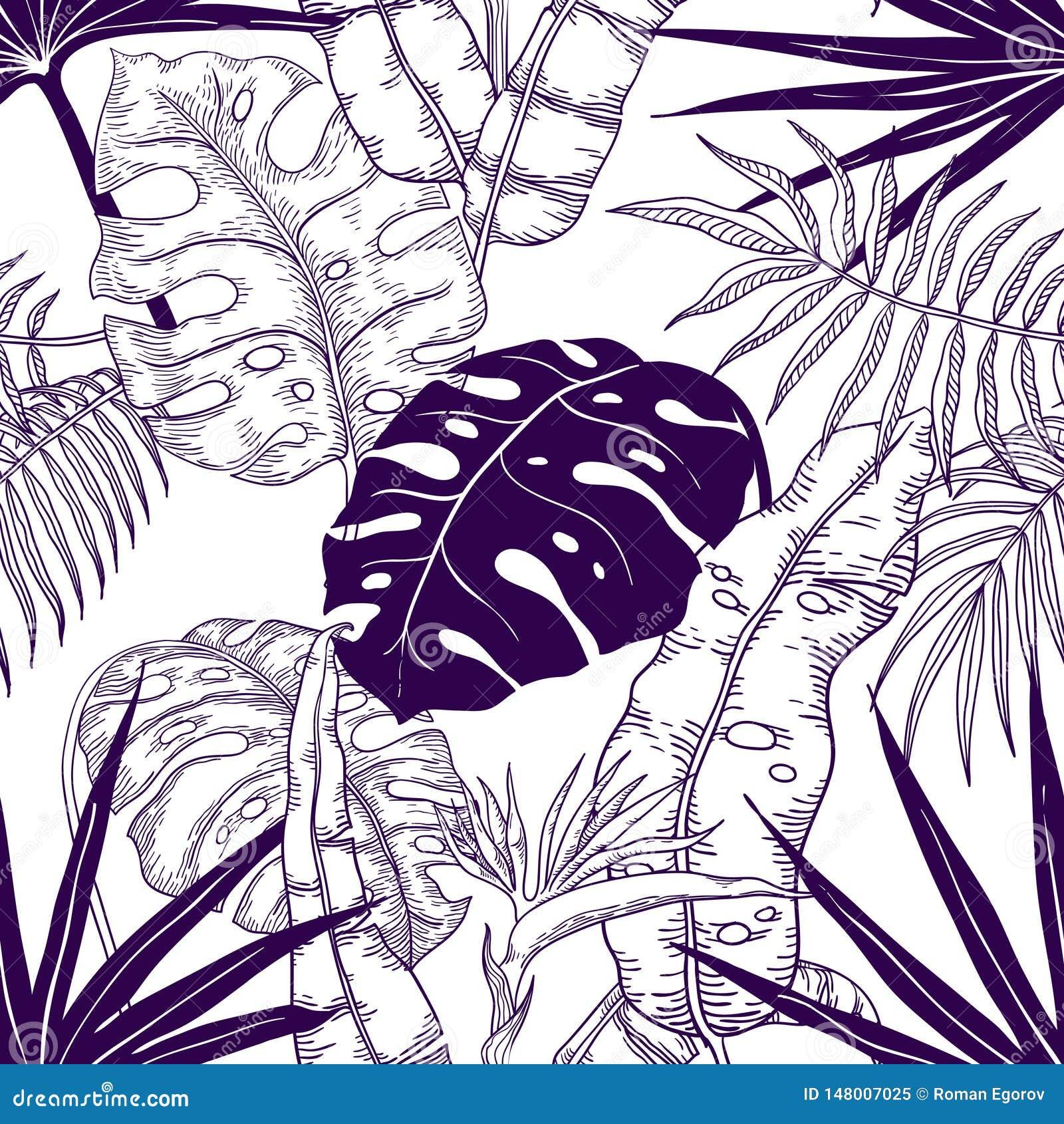 Palm leaves seamless pattern. Plant vintage wallpaper, floral line print texture, tropic garden textile pattern. Vector