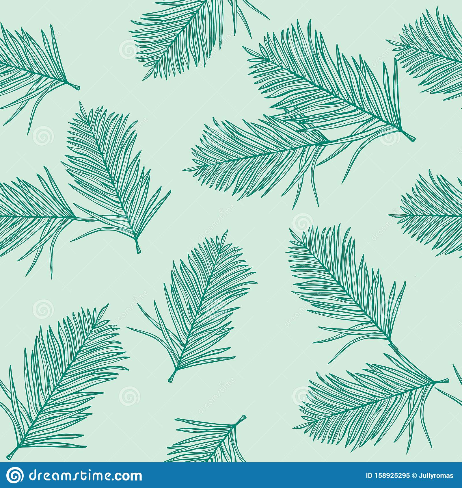 Palm Pattern Wallpaper Of Tropical Dark Green Leaves Of Palm On A