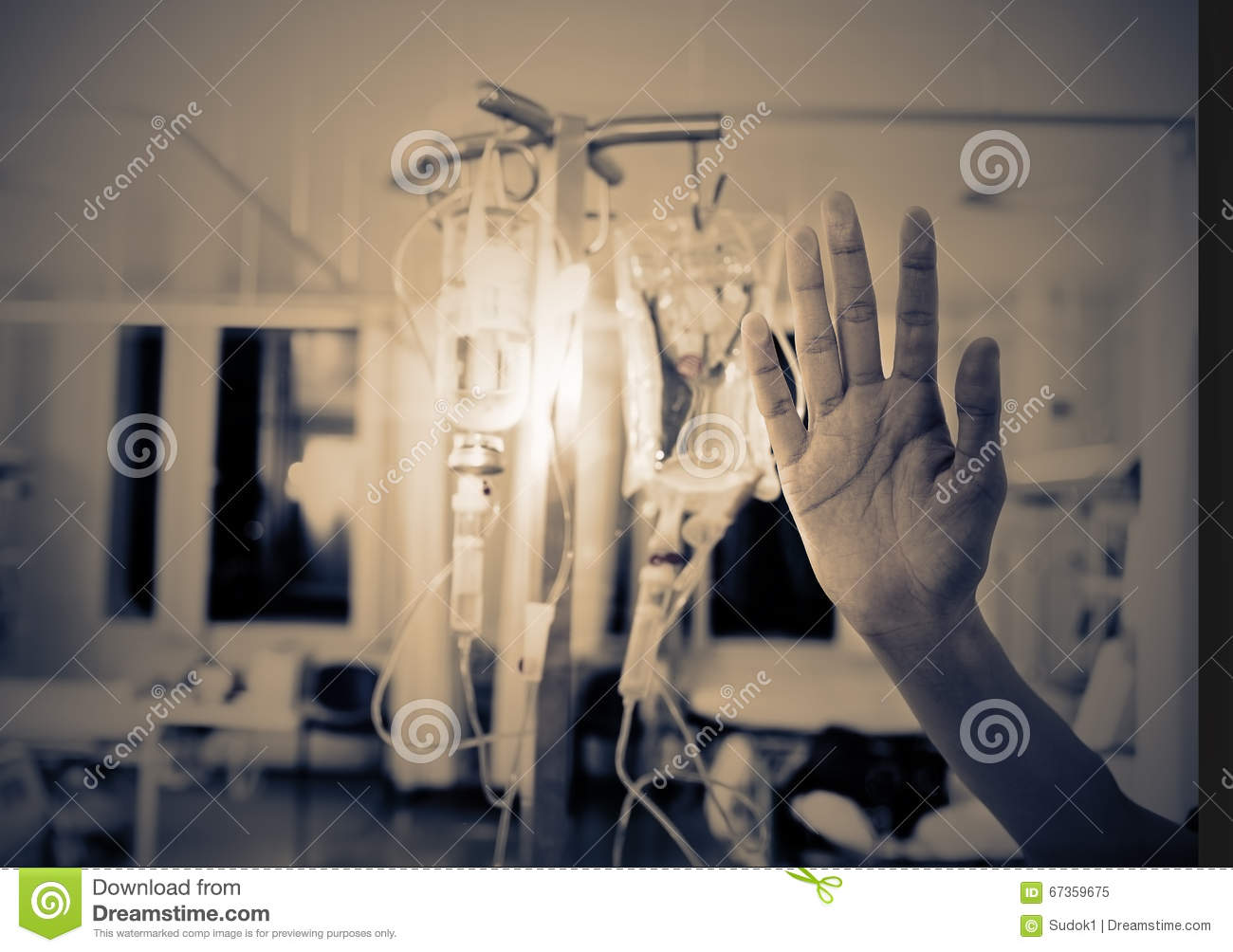 Palm pressed to the glass, the concept of compulsory isolation o