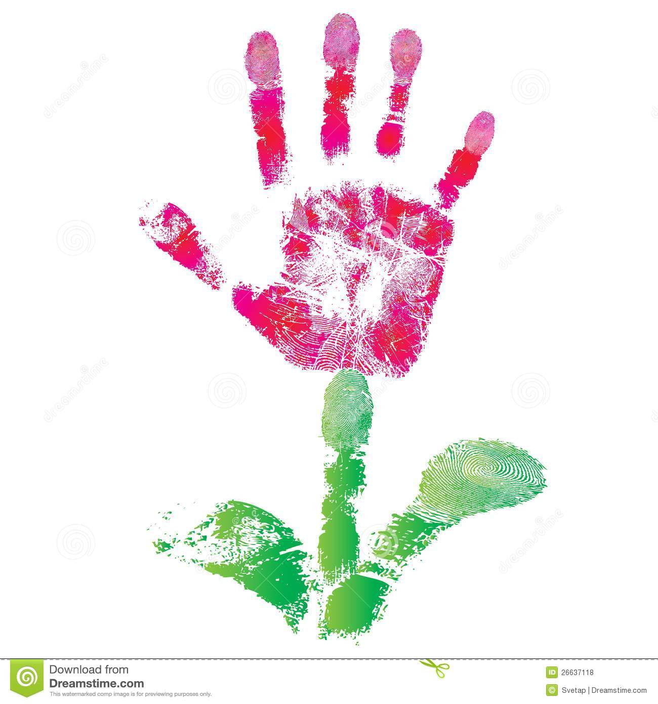 Palm Print Flower Of Hand Child As Logo Or Icon Sign Cute Skin