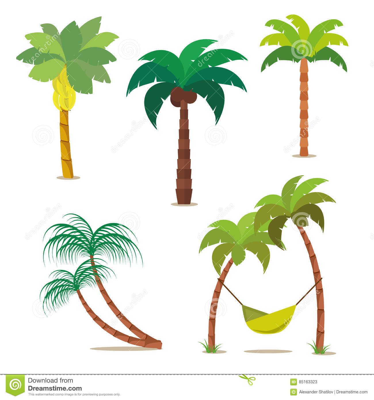 Urban Wall Stickers Vector Coconut Palm Trees Silhouette Set On White Vector