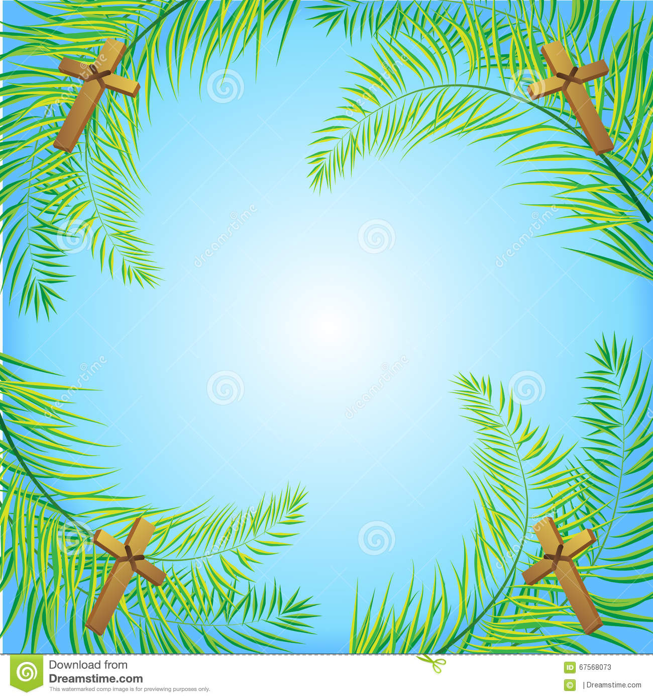 Palm Sunday frond and cross vector background. Vector illustration for ...