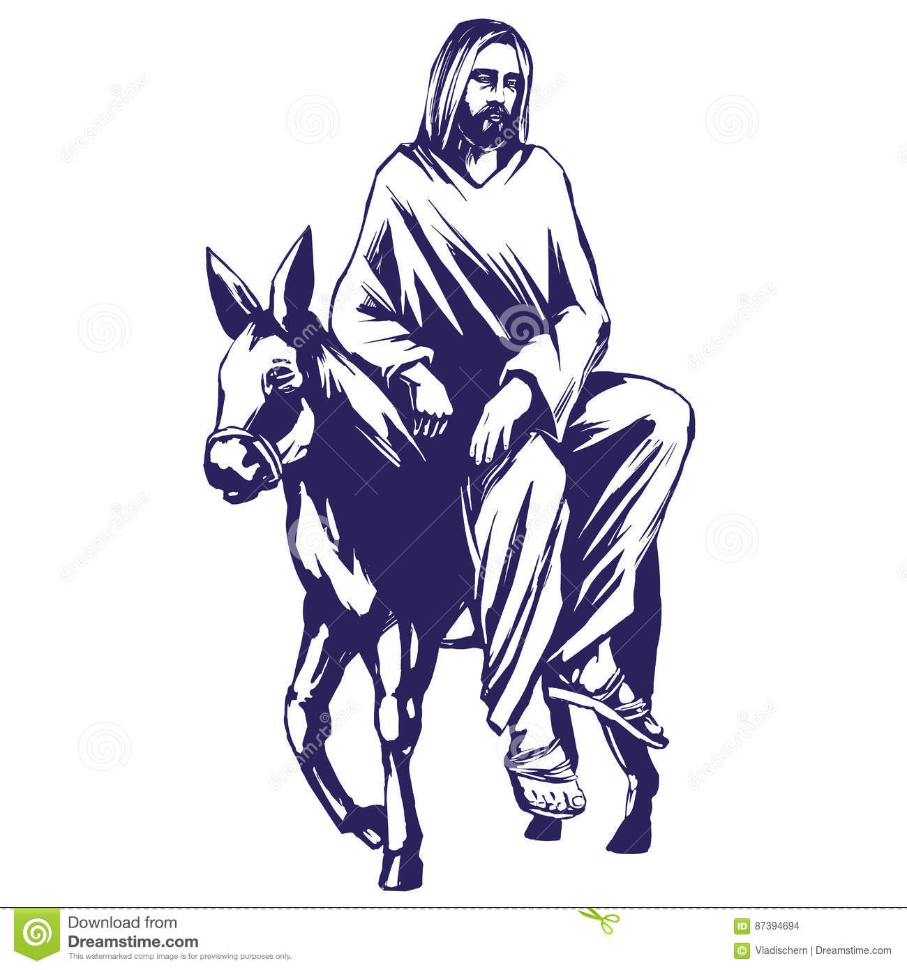 palm sunday jesus christ rides on a donkey into jerusalem symbol of christianity vector illustration sketch