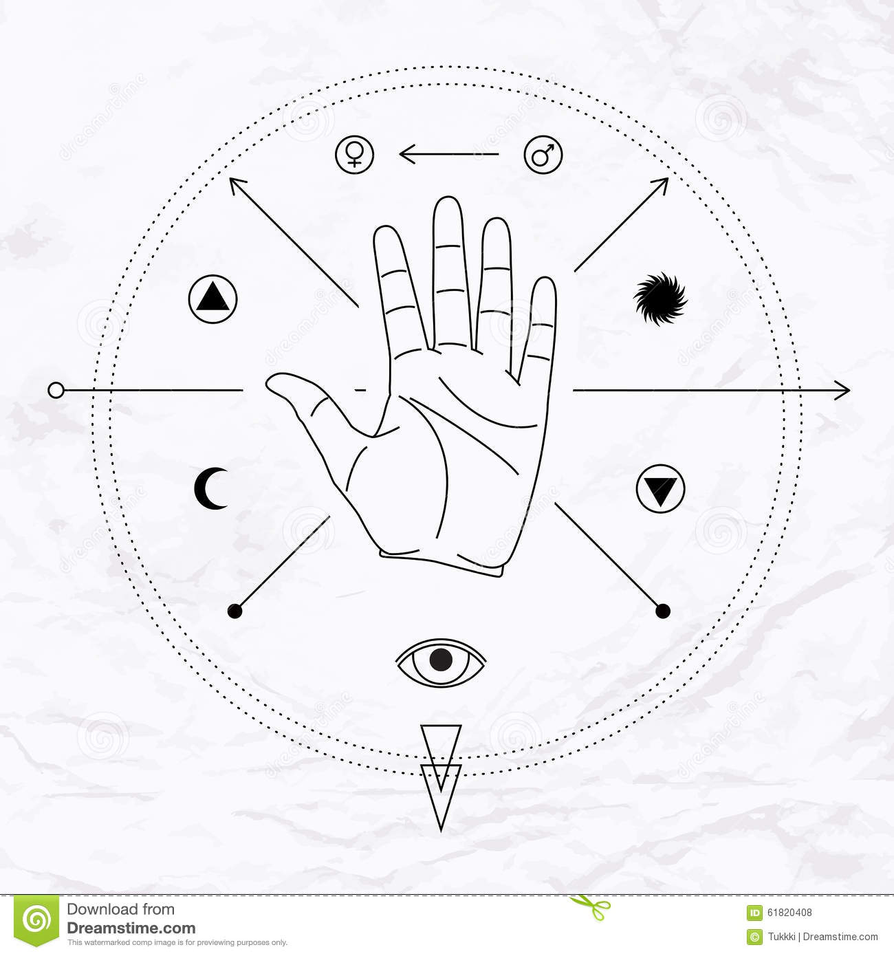 Palm With Symbols Stock Vector Illustration Of Sign 61820408