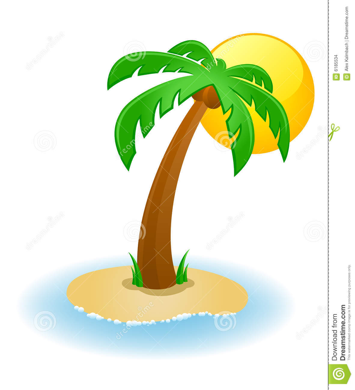 Vector illustration of a palm tree on a small island.