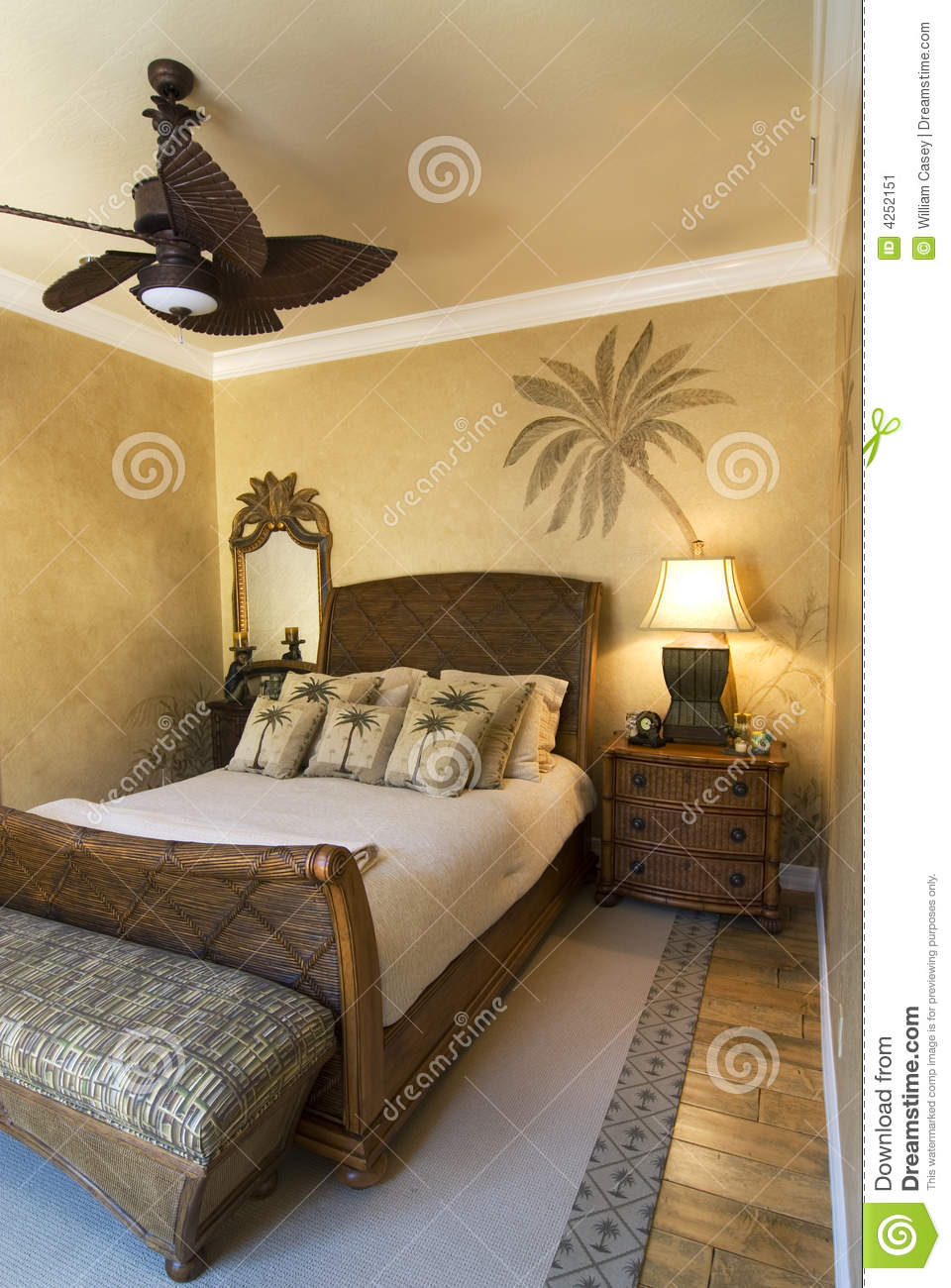 Palm Tree Bedroom Stock Image Image Of Cushions Rattan