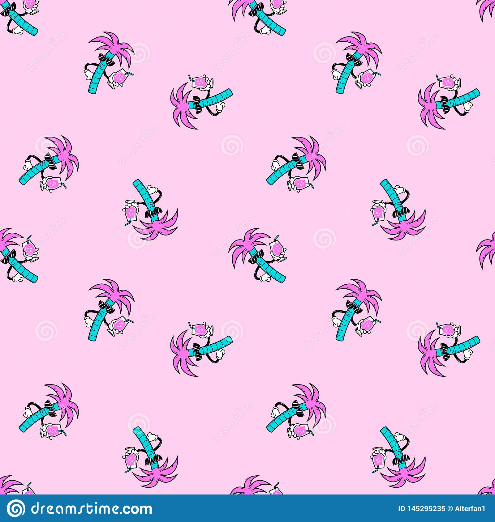 PALM TREE DUDE WITH COCKTAIL SEAMLESS PATTERN PINK
