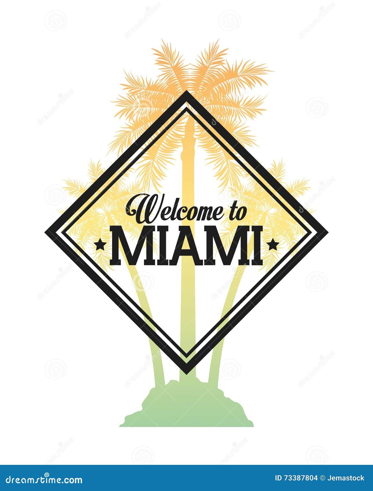 Palm Tree Icon Miami Florida Designctor Graphic Stock