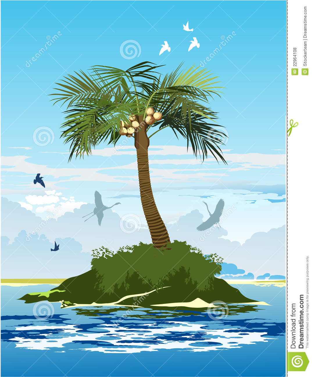 Palm Tree Island: Palm Tree On The Island Stock Vector. Illustration Of Palm