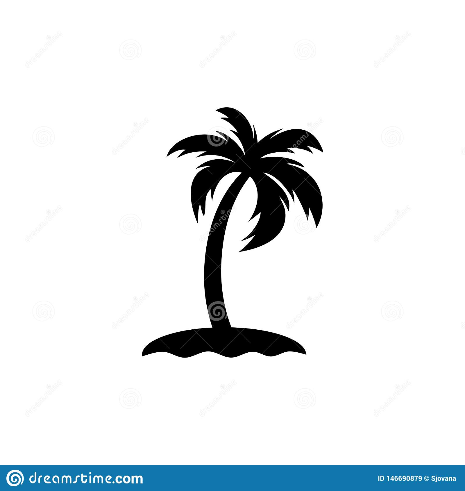 Palm Tree Island: Palm Tree On The Island Icon Sign Logo Stock Vector