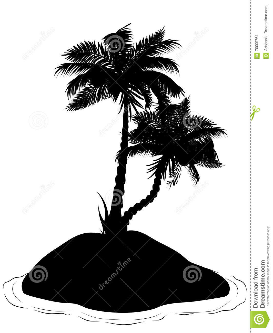 Palm Tree Island: Palm Tree On Island Silhouette Stock Vector