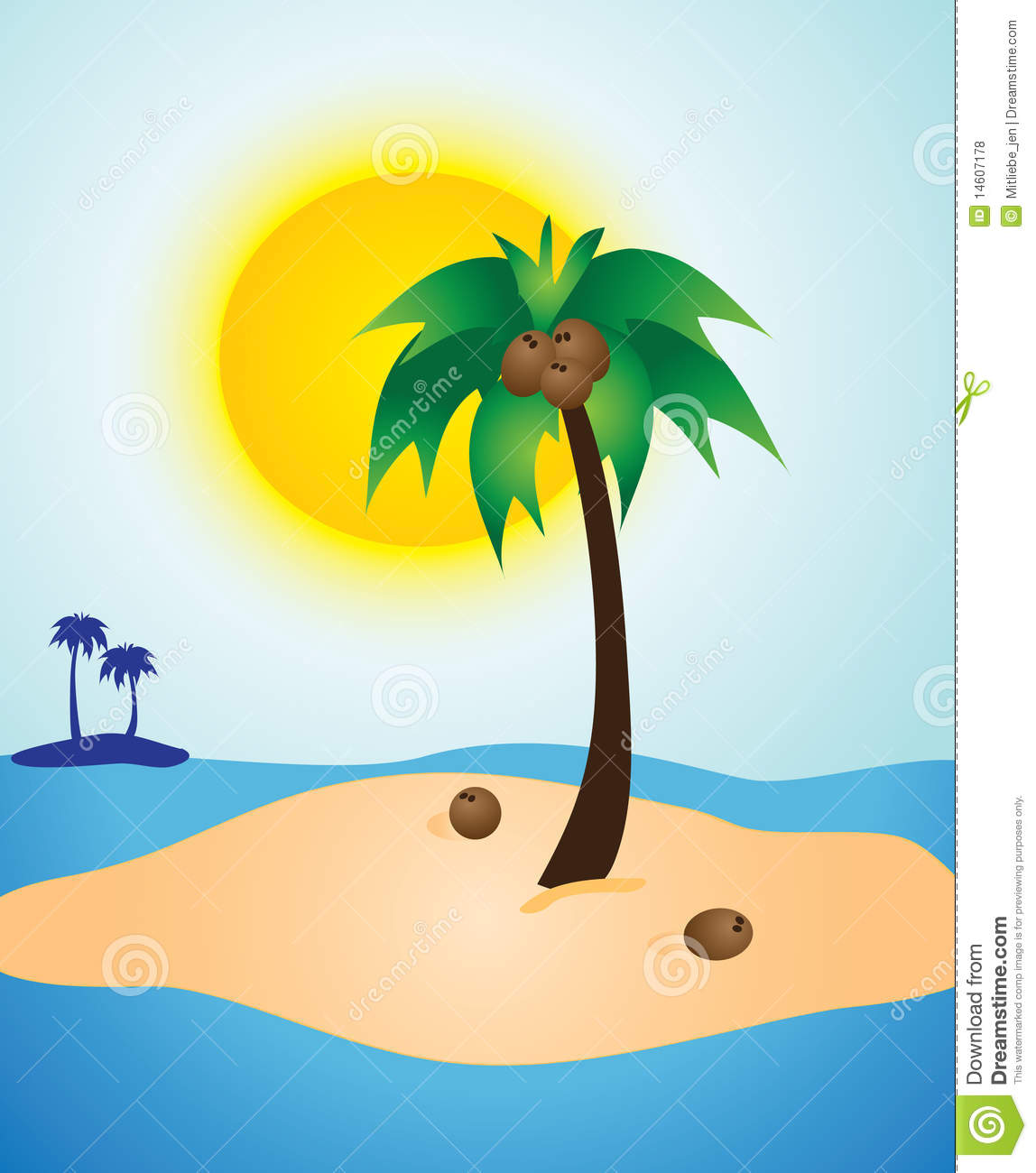 Palm Tree Island Sunny Day stock vector. Illustration of ...