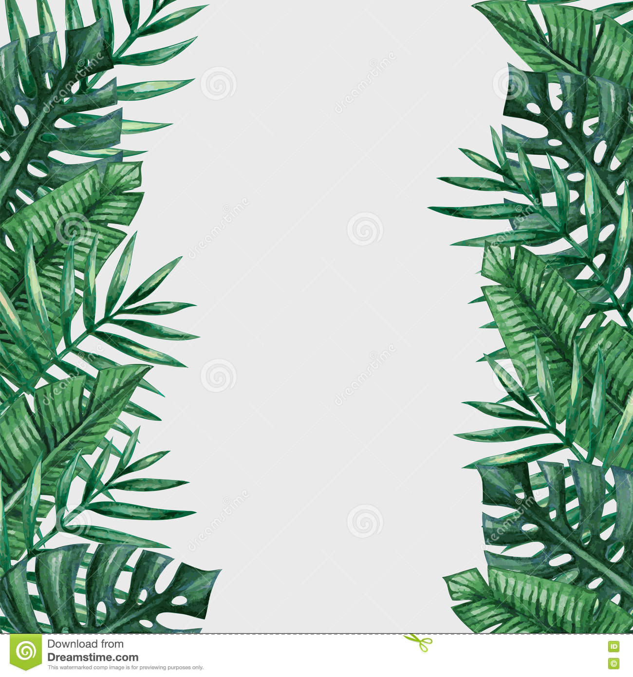 palm tree leaves background template stock illustration image