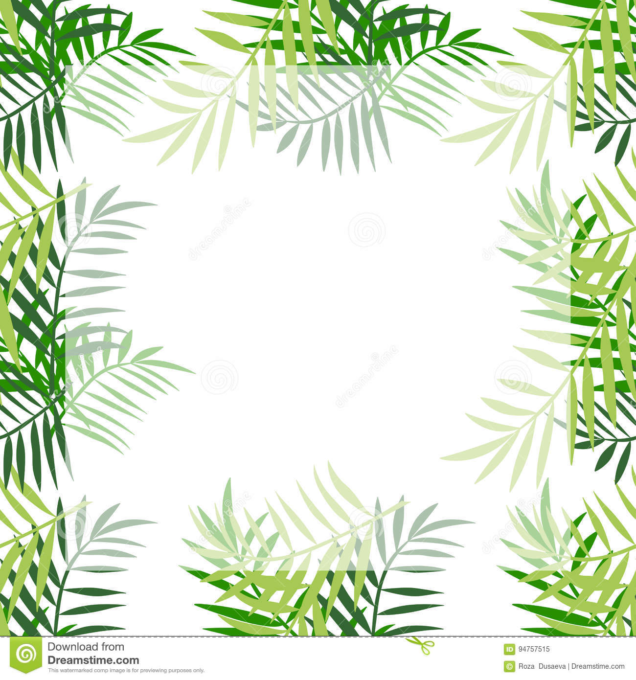 palm tree leaves border 4 stock vector image 94757515