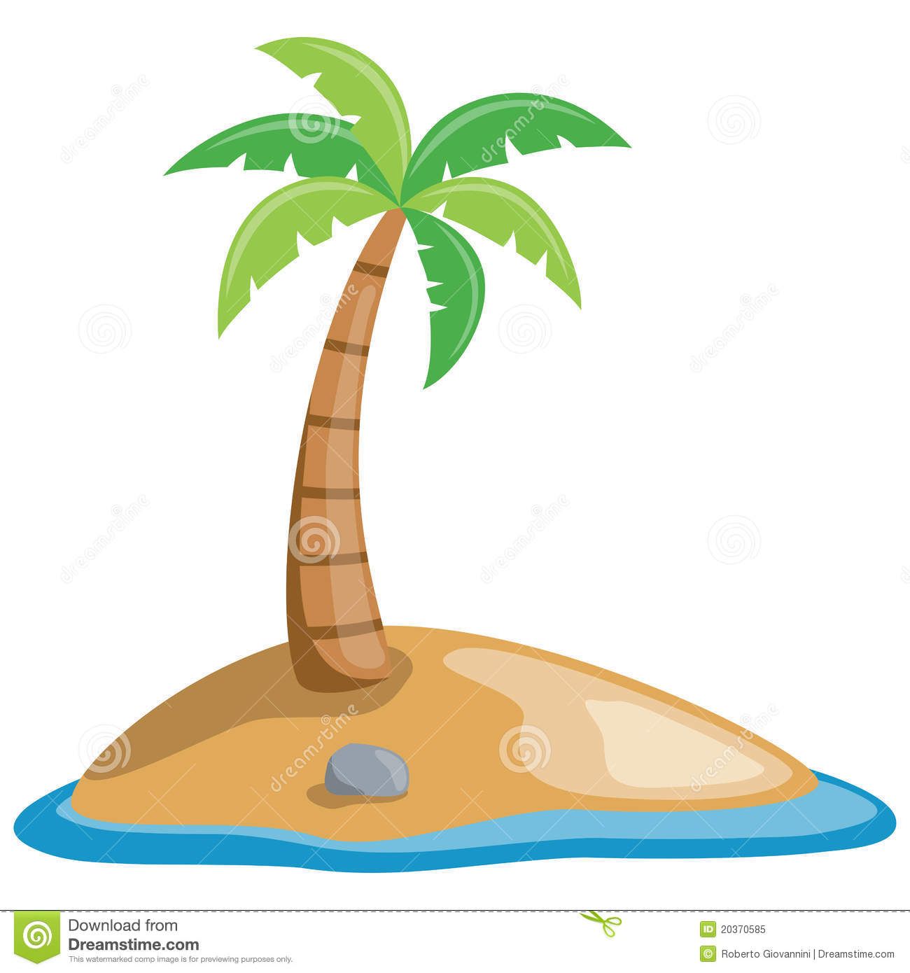 Palm Tree On A Little Island Stock Vector - Illustration ...